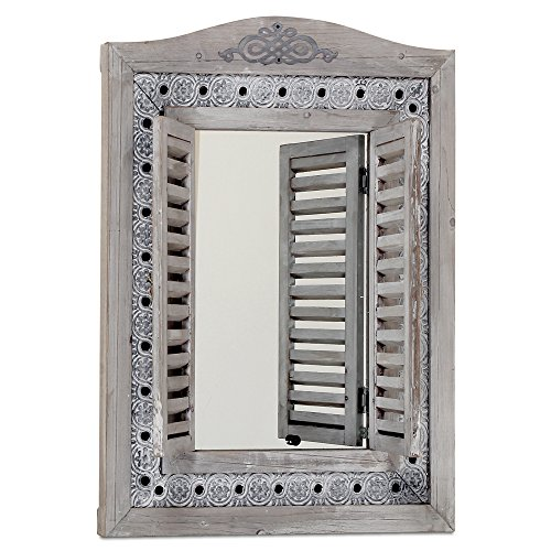 Americana Rustic Farmhouse Mirror with Shutters, Vintage