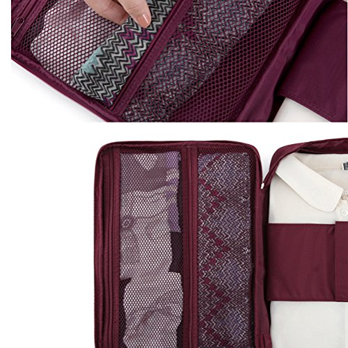 iSuperb Multi-function Shirt Organizer Travel Tie Storage Pouch Luggage Packing waterproof Bag for Men (Wine)