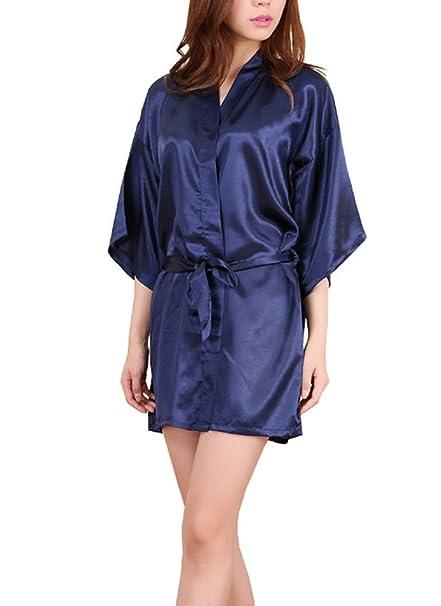 ECHERY Mujeres Kimono de Satén de Seda Color Puro Albornoz Batas Ropa de Dormir Vestido de Corto: Amazon.es: Ropa y accesorios