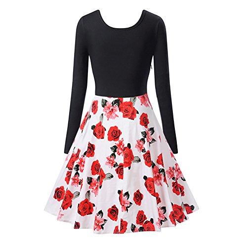 iShine redondo del retro Sra vestido Floral La manga larga del de de grande color oscilación 1 impresión cuello encanto FyFrqRwY