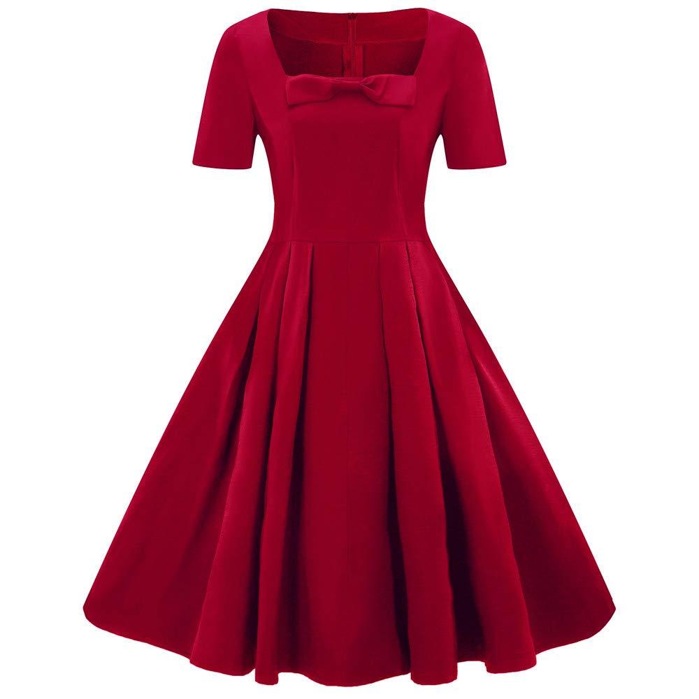 Chaofanjiancai Women's Fashion Plus Size Short Sleeve Vintage Dress Solid Retro Flare Pleated Dress