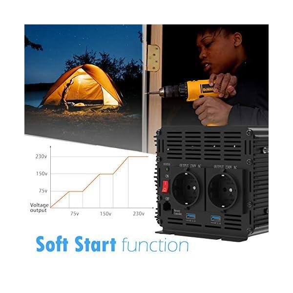 51%2Bz9ufGoAL EDECOA Spannungswandler 2000W Modifizierte Sinus Wechselrichter 12V 230V 2x USB und Fernbedienung wechselrichter…