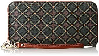 Fossil Sydny Zip Wallet,Green Multi,One Size