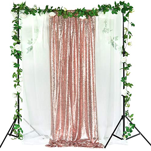 (2 Pack Sequin Backdrop 2FT × 8FT Rose Gold Glitter Dot Backdrop Curtain for Selfie Wedding Birthday Party Photography Background)