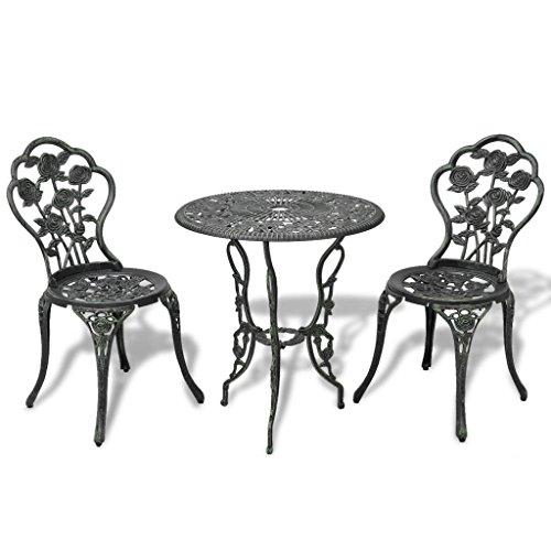 3 Piece Bistro Set Cast Aluminium Green (Cast Garden Aluminium Furniture)