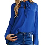 Fashion Womens Girls Casual Flare Long Sleeve Shirts V-Neck Solid Loose Tunic Pullover Blouse Tops