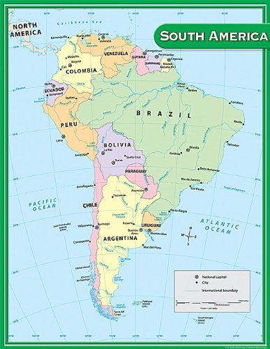 Teacher Created Resources South America Map Chart Multi Color 7656