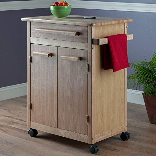 Kitchen Cart with Wheels Wood Top Towel Holder Storage Cabinet Drawer Rolling Utility Shelf Furniture Cart Table Island Home Office Bar Rack