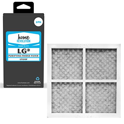 2 Home Revolution Replacement Refrigerator Air Filters, Fits Parts LG LT120F, ADQ73214404, ADQ73214408, & Kenmore Elite CleanFlow # 9918