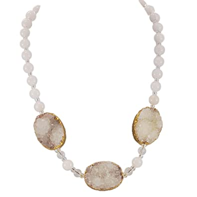 Amazon.com  Beautiful! White Agate beads   Druzy Agate Necklace with ... b68036e45ce1
