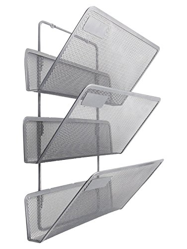 (EasyPAG Wall File Holder 3 Tier Assembly Hanging Organizer Magazine Rack,Silver)