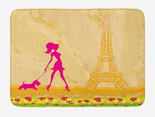 Queolszi Teen Room Bath Mat, Pink Silhouette of A Girl with The Dog Eiffel Tower in Paris Design, Plush Bathroom Decor Mat with Non Slip Backing, 23.6 W X 15.7 W Inches, Apricot and Hot Pink ()