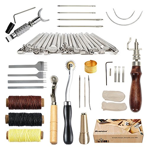 SIMPZIA 34 Pcs Leather Craft Stamping Tools with Adjustable Swivel Knife,Stitching Groover,Prong Punch,Leather Working Saddle Making Stamps Tools for DIY Leather Craft Man,Be Careful of Its Sharp Edg