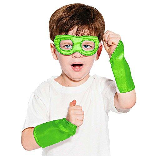 Lime Green Superhero Eye Mask and Powerbands - Kids -