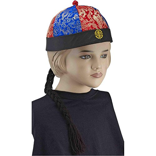Kids Chinese Hat with Braid - One Size