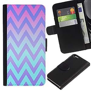 All Phone Most Case / Oferta Especial Cáscara Funda de cuero Monedero Cubierta de proteccion Caso / Wallet Case for Apple Iphone 6 // Pink Teal Lines Pattern