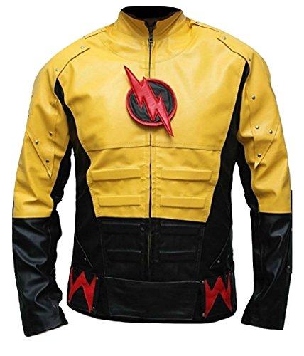 Bestzo Men's Fashion Reverse Flash Leather Jacket Multicolored