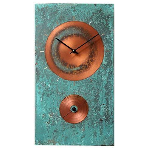 Turquoise Copper Rectangle Rustic Large Wall Clock 18-inch - Silent Non Ticking Gift for Home/Office/Kitchen/Bedroom/Living Room