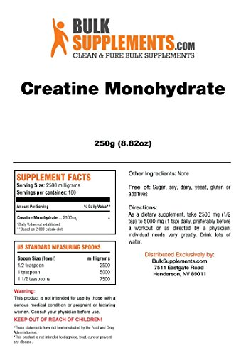 Bulksupplements Creatine Monohydrate Powder Micronized (250 Grams)