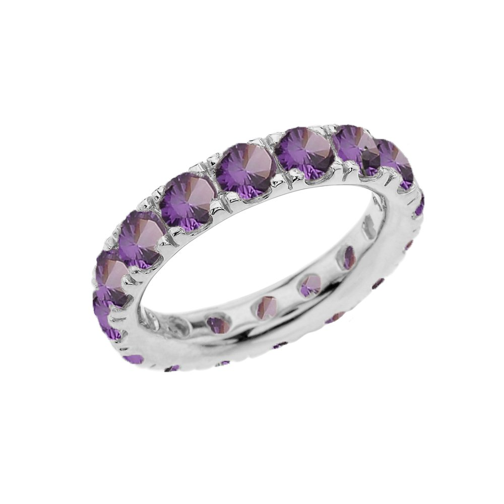 Sterling Silver 4mm June Birthstone Cubic Zirconia Comfort Fit Eternity Band (Size 11.5)