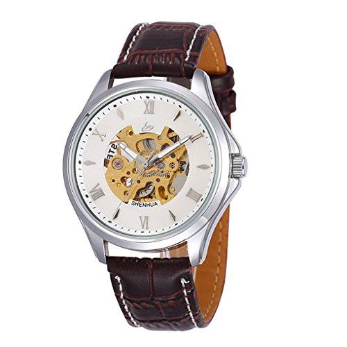 GuTe Elegant White Mens Skeleton Automatic Mechanical Wristwatch Roman Luminous