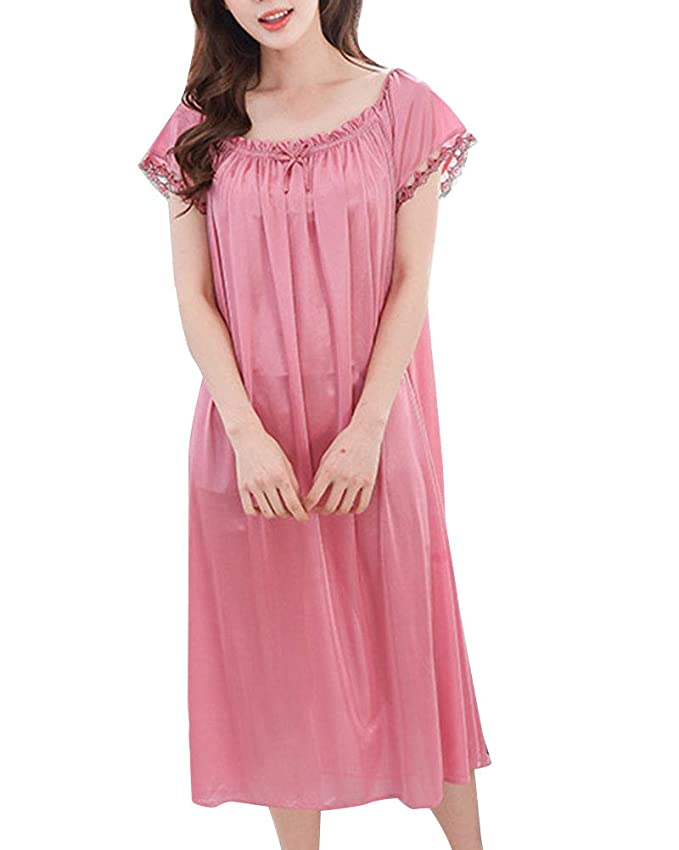 Camisón Mujer Verano Pijama Manga Corta Vestido Talla Grande 1 Un tamaño: Amazon.es: Ropa y accesorios