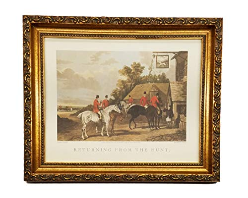 English Scene Hunt - TheShoppe-USA Returning from The Hunt - English Fox Hunt Scene Picture - Beagle Horses Bugles Creek - Antique Silver Frame