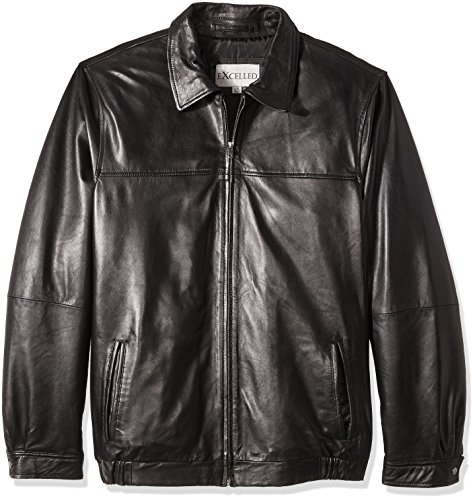 Excelled Leather Jackets (Excelled Men's Big Lambskin Shirt Collar Bomber Jacket, Black, X-Large Tall)