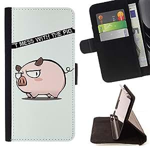 For Sony Xperia Z1 Compact / Z1 Mini (Not Z1) D5503 Case , Divertido no ensucie con el cerdo- la tarjeta de Crédito Slots PU Funda de cuero Monedero caso cubierta de piel