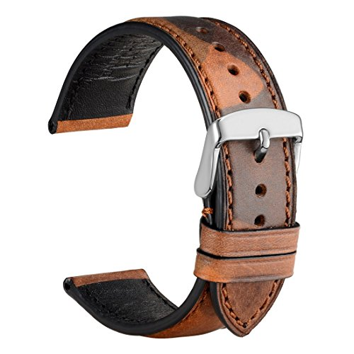 WOCCI Leather Watch Band 22mm,Military Style Camo Series Replacement Strap (Shrubs Brown)
