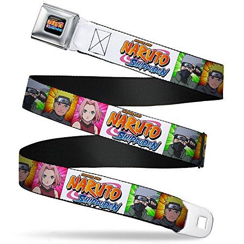 Naruto Character Blocks W/logo White Seatbelt Belt