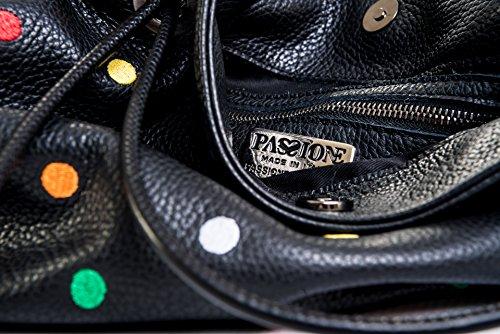 Lilli Tracolla Pois - Borsetta in vera pelle color Nero con ricamo pois multicolor - Made in italy - Passionebags