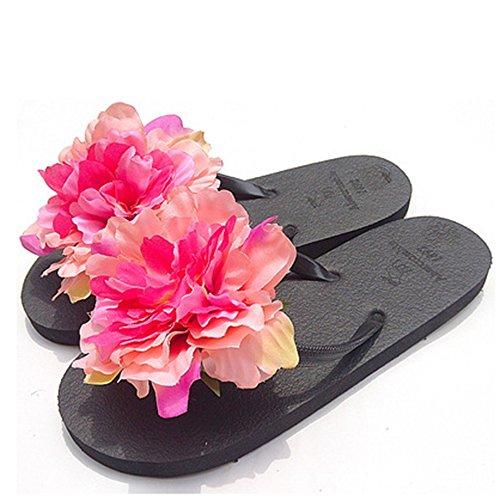 HYL World Women Summer Bohemian Flower Flip Flops Sandal Beach Flower Flat Slipper,Rose Red,M(6-6.5)