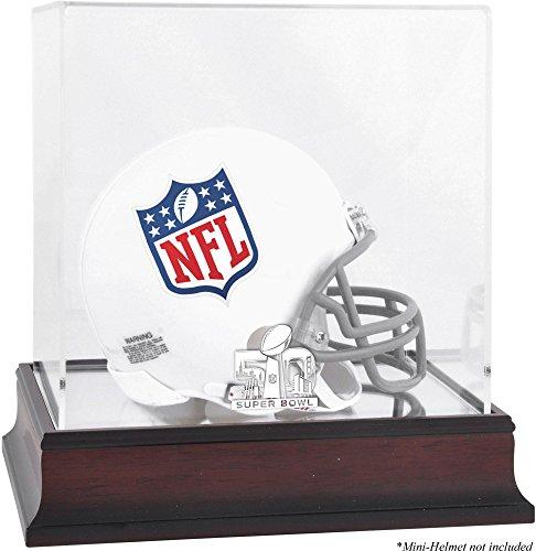 Sports Memorabilia Super Bowl 50 Mahogany Mini Helmet Logo Display Case - Football Mini Helmet Free Standing Display Cases