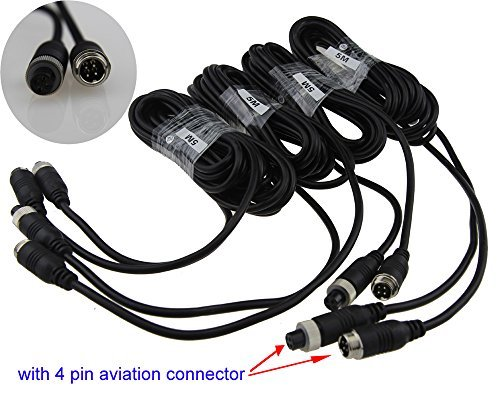 Auto Rover 5M 4Pin Aviation Connector Video Audio Extend Cables for Car Vehicle Backup Camera/DVR 4Pcs