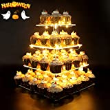 Vdomus Pastry Stand 4 Tier Square Acrylic Cupcake Display Stand with LED String Lights Dessert Tree Tower for Birthday Wedding Party 12 Inch
