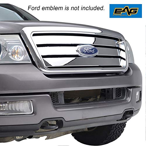 EAG Replacement Upper Grille Chrome Front Hood Full Grill with Emblem Clip Fit for 04-08 Ford F-150