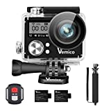 Vemico Action Camera, Sports Action Cam 4K WiFi Waterproof Camera Underwater Camera Helmet Camera 16MP Dual Screen Full HD with 2.4G Remote Control and 2pcs 1050mAh Batteries and Selfie Stick