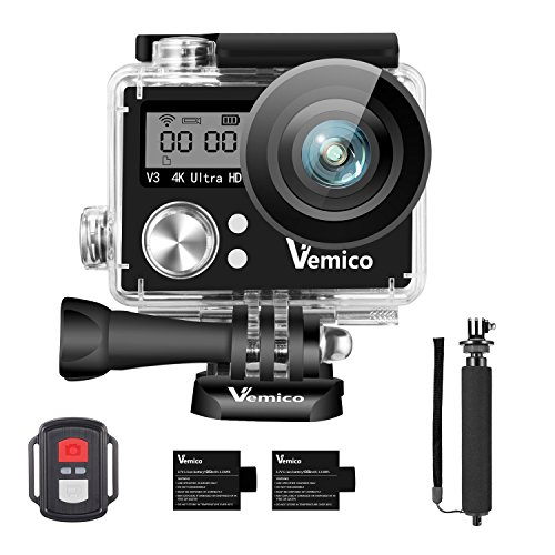 Action Camera, Vemico Sports Action Cam 4K WIFI Waterproof Camera Underwater Camera Helmet Camera 16MP Dual Screen Full HD with 2.4G Remote Control and 2pcs 1050mAh Batteries and Selfie Stick (Hd Camcorder Waterproof)