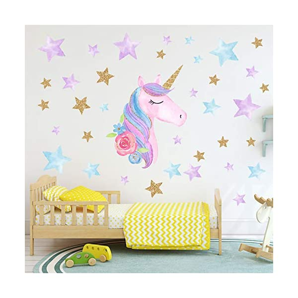 AIYANG Unicorn Wall Stickers Rainbow Colors Wall Decals Reflective Wall Stickers for Girls Bedroom Playroom Decoration (Stars,Left) 8