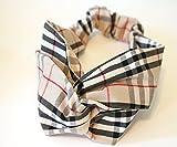 Girliber Brown Checkered Hair Bandana Hair Bandana, Hair Turban for Women, Hair Lap (Brown)