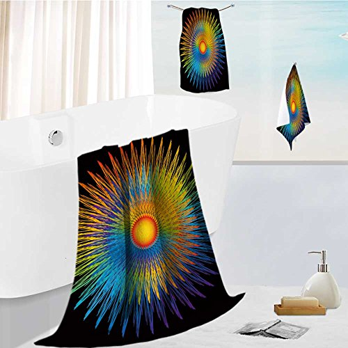 SOCOMIMI Microfiber Beach Towel set with Travel rainbow sunburst Ultra Absorbent Towel for the Beach