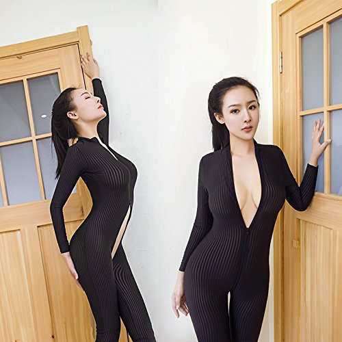 dc25884a429 yuchang New Open Crotch Black Striped Sheer Bodystocking Bodysuit ...