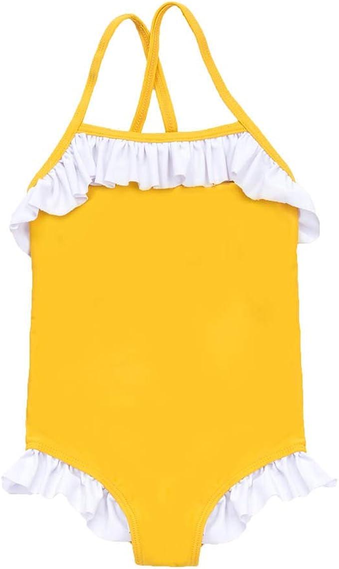 Mbby 6 Mesi Pantaloncini Cappello da Sole 5 Anni 3 Pezzi Set Costumi da Bango per Bambina Tinta Unita Tulle Bikini per Ragazza,Costume Triangolo