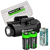 EdisonBright Olight PL1-II 450 lumen LED flashlight for handgun, with 2 X CR123A lithium batteries and Battery case bundle