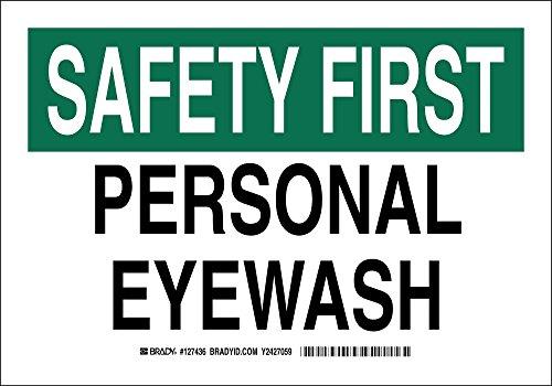 """BRADY 127436 First Aid Sign, Legend """"Personal Eyewash"""", 7..."""