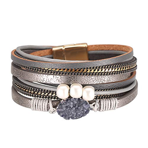 Pearl Gray Leather - Fesciory Women Multi-Layer Leather Wrap Bracelet Handmade Wristband Braided Rope Cuff Bangle with Magnetic Buckle Jewelry(Gray Stone)