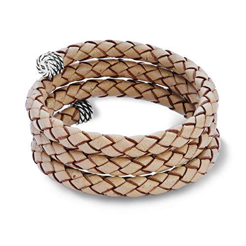Sterling Silver Natural Braided Leather Wrap Bracelet