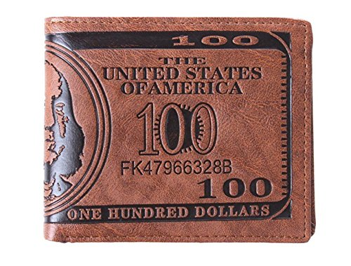 HENGSONG Men US Dollar Bill Wallet PU Leather Credit Card Photo Holder Bifold Billfold (?Dark Brown)