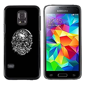 Planetar® ( Floral Black White Smoking Skull ) Samsung Galaxy S5 Mini (Not S5) / SM-G800 Fundas Cover Cubre Hard Case Cover
